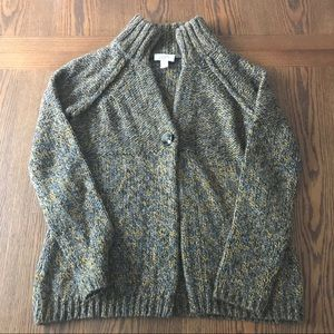 BRAND NEW! LOFT GRAY & MUSTARD WOOL CARDIGAN